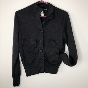 Les Copains Thick Grey 100% Wool Button Up Cardigan Size 8